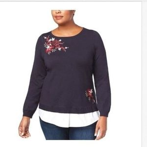 Charter Club Embroidered Layered-Look Sweater Sz L
